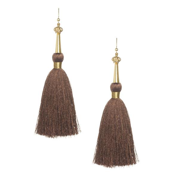 _0001_Chocolate  Brown Silk Tassel Earrings with Gold Cap