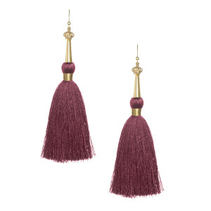 Burgundy Silk Tassel Earrings with Gold Cap