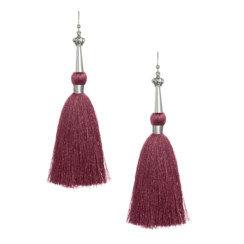 Burgundy Silk Tassel Earrings with Silver Cap