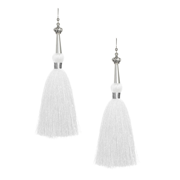 White Silk Tassel Earrings with Silver Cap