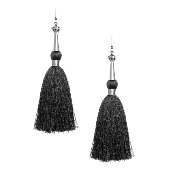 Black Silk Tassel Earrings with Silver Cap