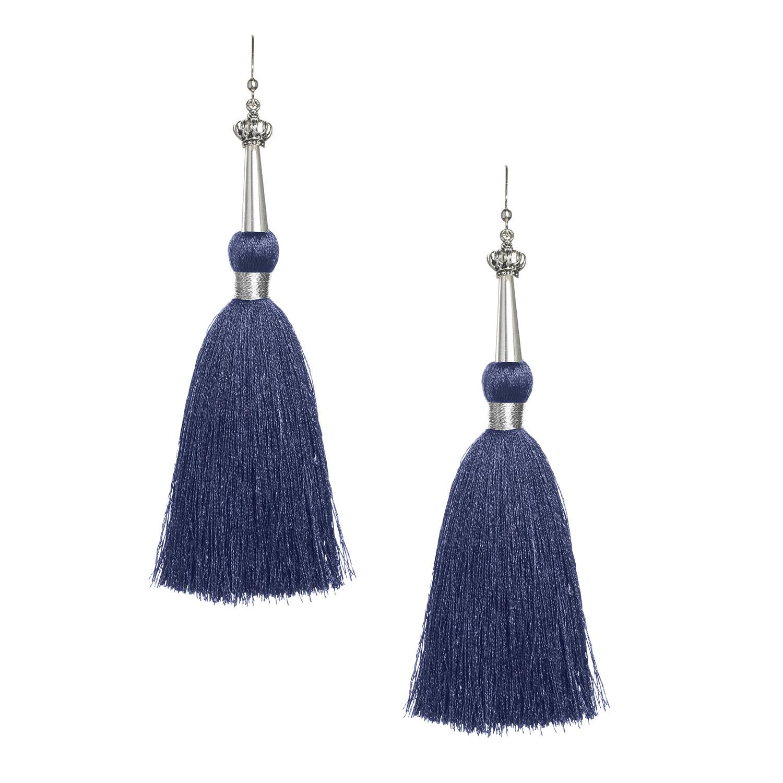 Navy Silk Tassel Earrings with Silver Cap