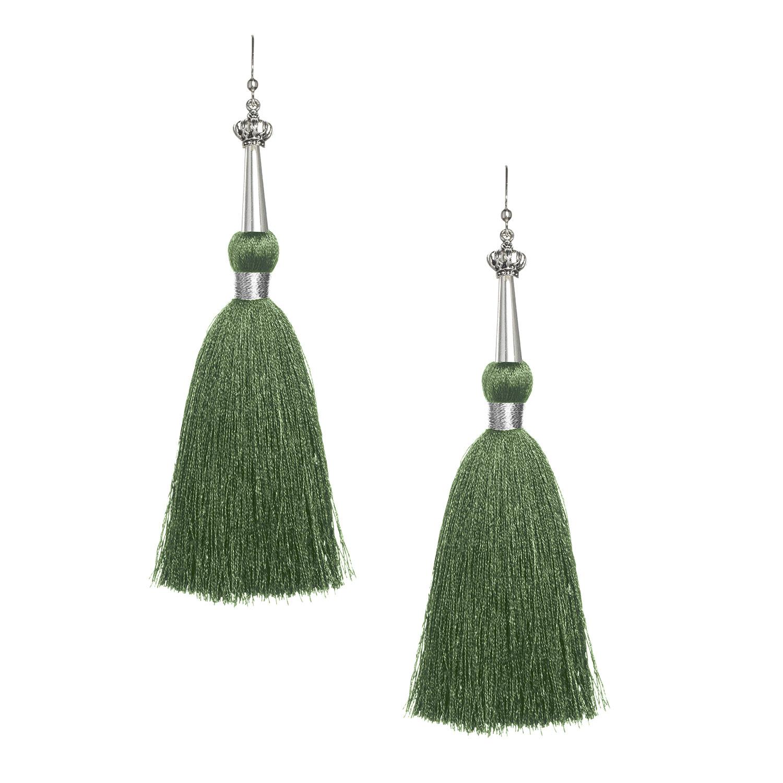 Olive Green Silk Tassel Earrings with Silver Cap