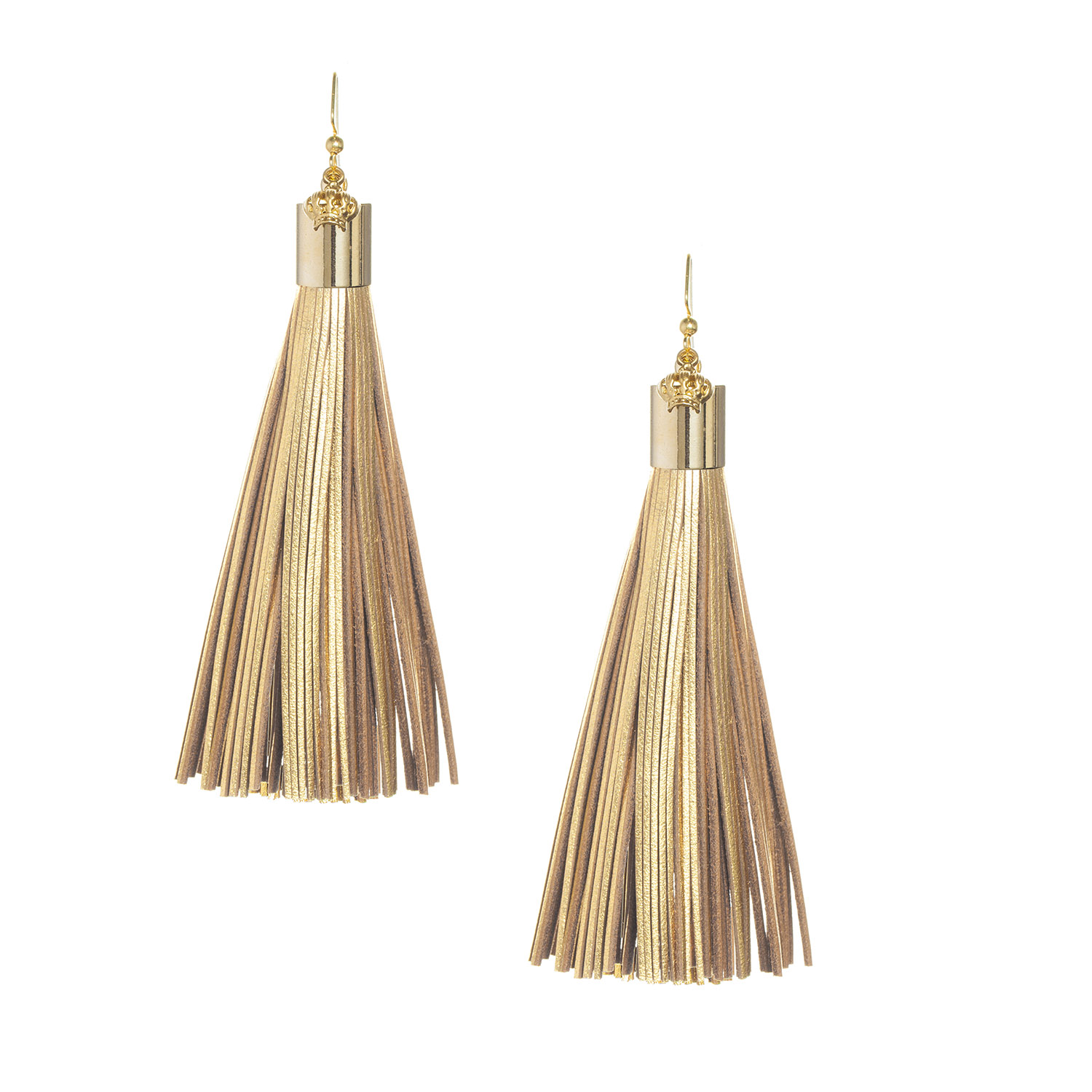 Camel Leather Tassel Earrings with Gold Cap