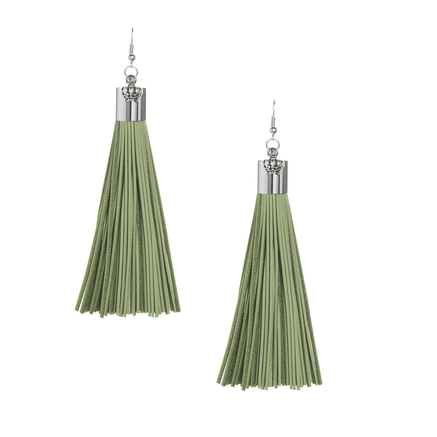 Olive Leather Tassel Earrings with Silver Cap