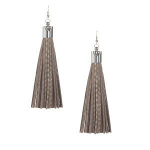 Brown Snakeskin Suede Tassel Earrings with Silver Cap