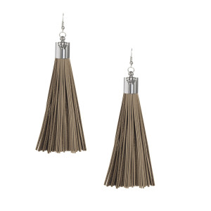 Cocoa Leather Tassel Earrings with Silver Cap