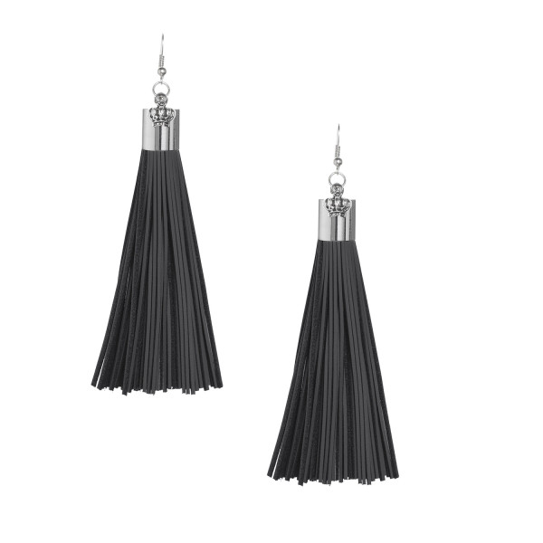 Black Leather Tassel Earrings with Silver Cap
