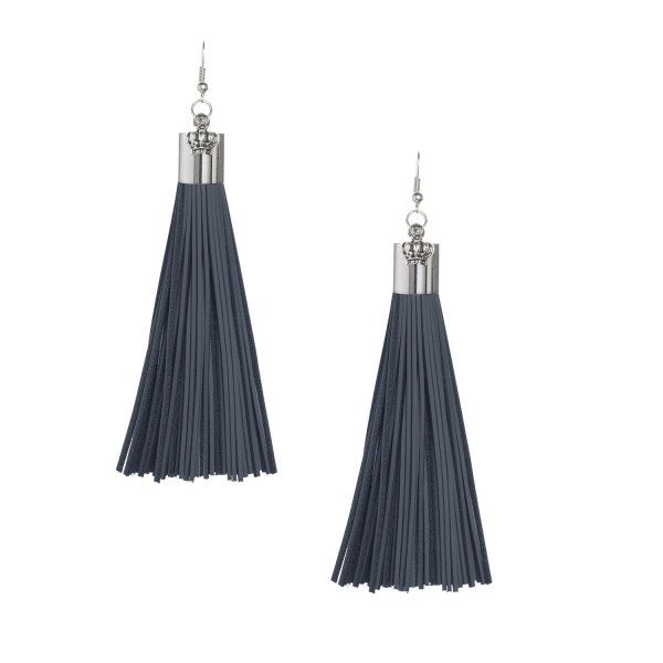 Navy Leather Tassel Earrings with Silver Cap