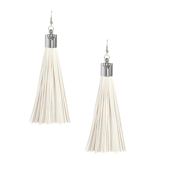 Cream Leather Tassel Earrings with Silver Cap