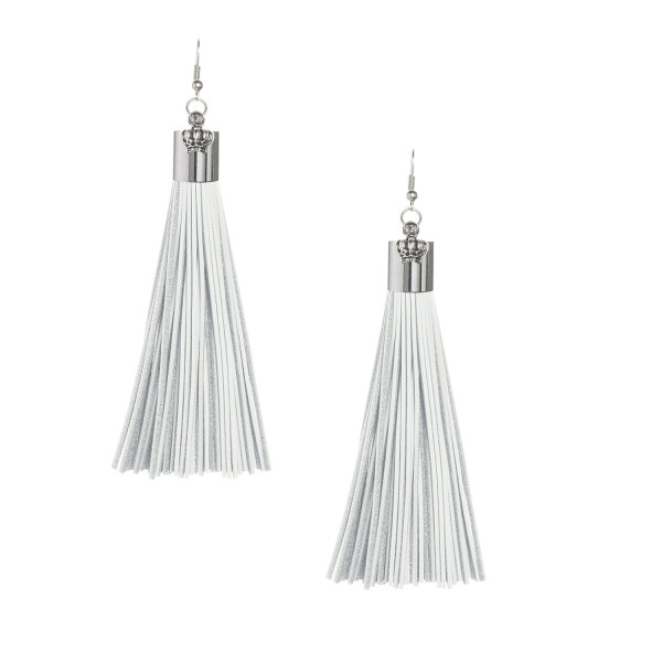 White Leather Tassel Earrings with Silver Cap