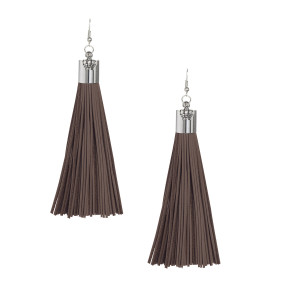 Dark Brown Suede Tassel Earrings with Silver Cap