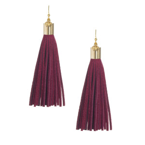 Burgundy Suede Tassel Earrings with Gold Cap
