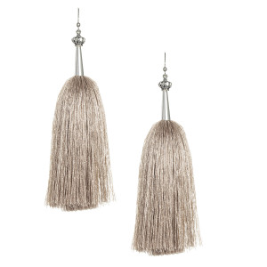 Khaki Feather Silk Tassel Earrings with Silver Cap
