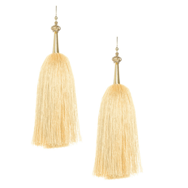 _0023_Soft Yellow  Feather Silk Tassel Earrings with Gold Cap