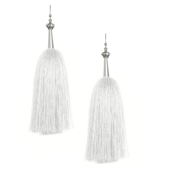 White Feather Silk Tassel Earrings with Silver Cap