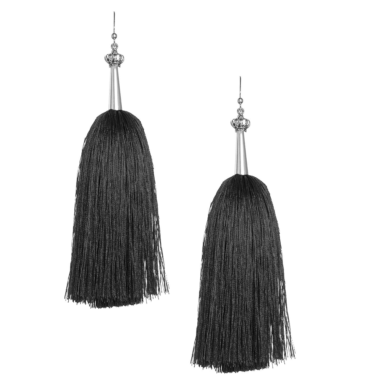 Black Feather Silk Tassel Earrings with Silver Cap