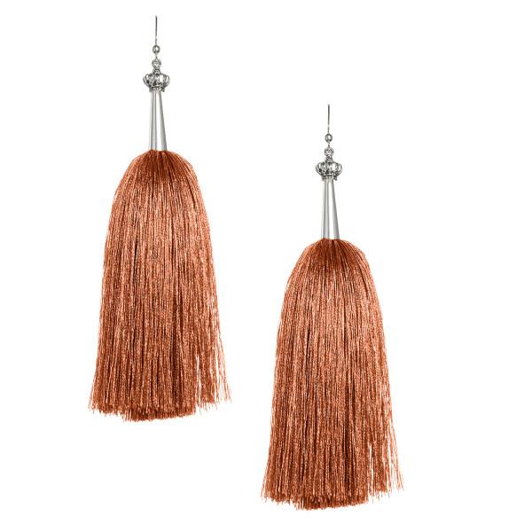 Copper Feather Silk Tassel Earrings with Silver Cap