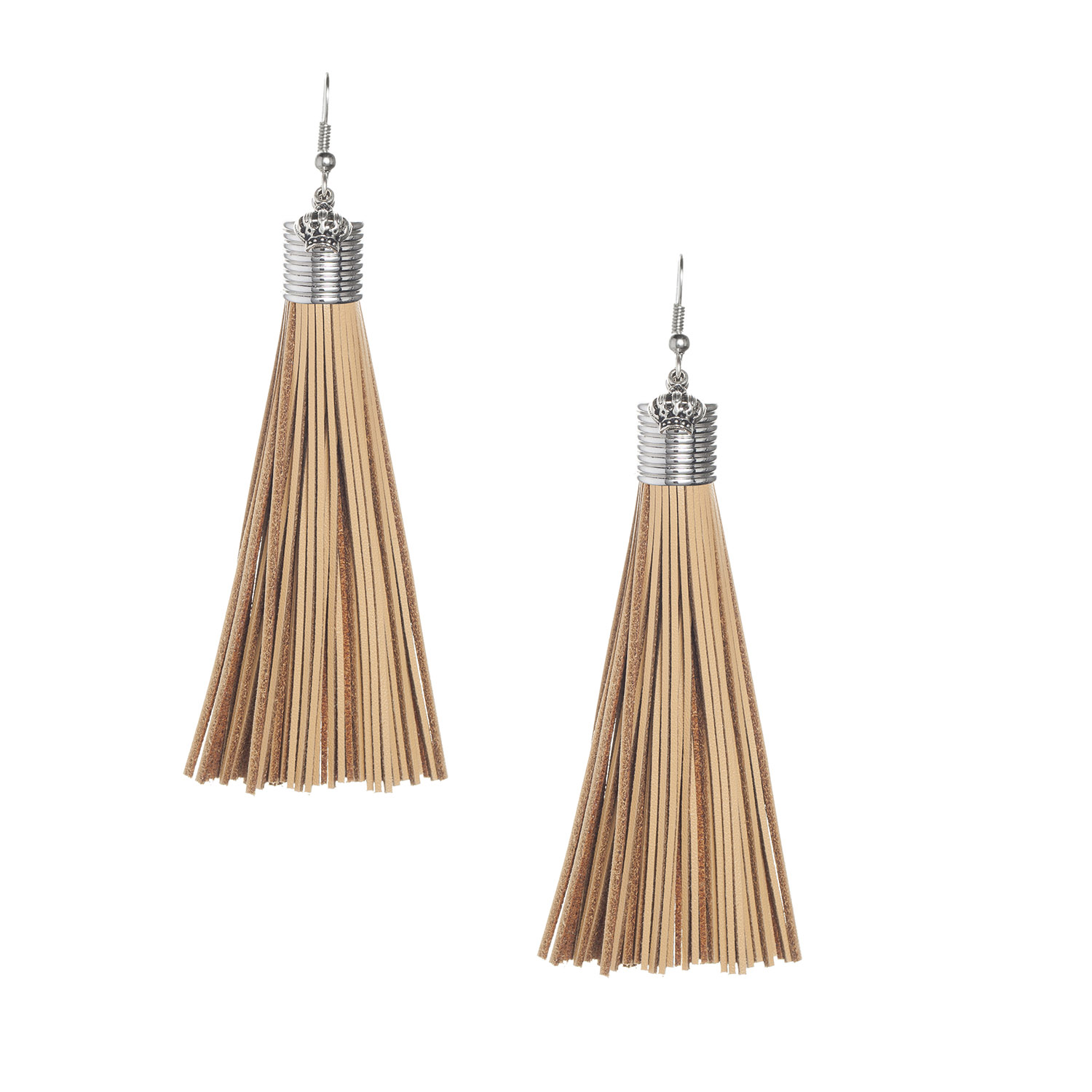 Camel Leather Tassel Earrings with Silver Ribbed Cap
