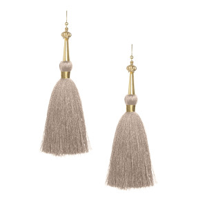 Khaki Silk Tassel Earrings with Gold Cap