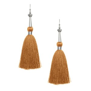 Bronze Silk Tassel Earrings with Silver Cap