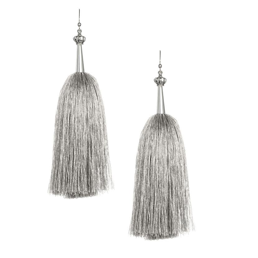 Ice Grey Feather Silk Tassel Earrings with Silver Cap