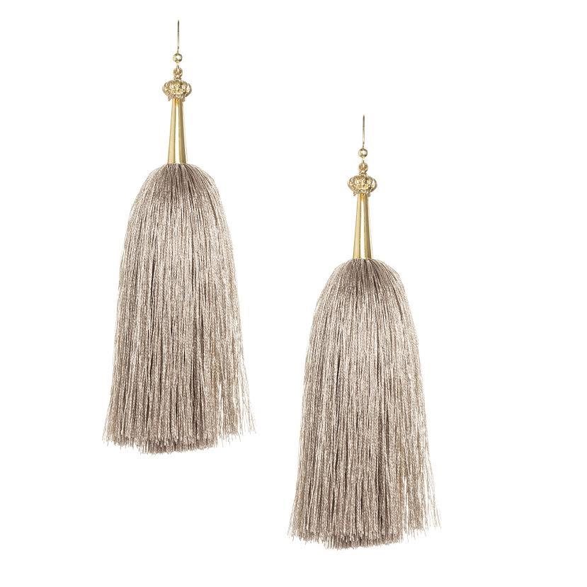 Khaki Feather Silk Tassel Earrings with Gold Cap
