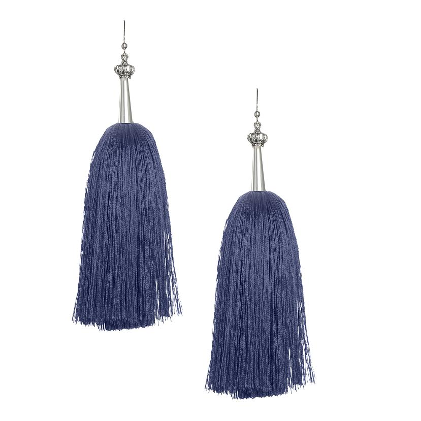 Navy Feather Silk Tassel Earrings with Silver Cap
