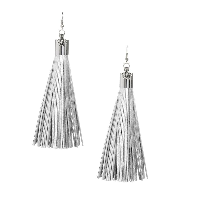 Silver Leather Tassel Earrings with Silver Cap