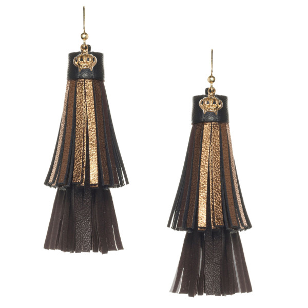 Fringe tassel Earrings in Gold and Black