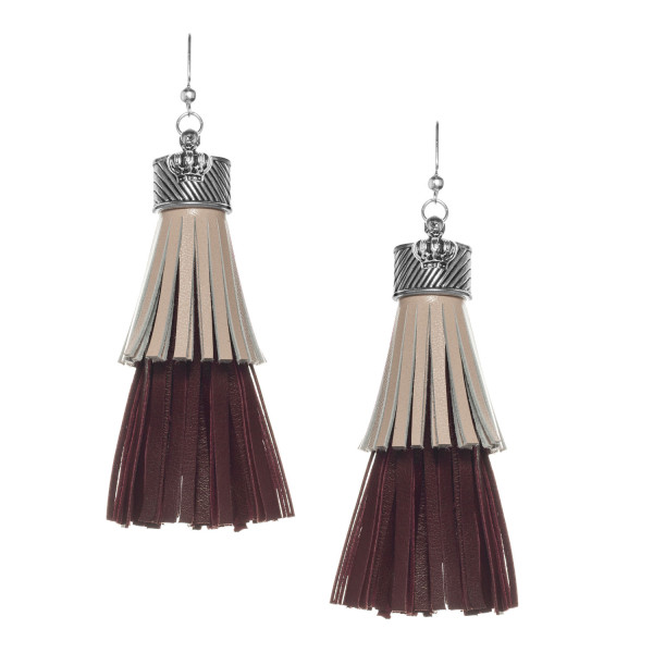 Fringe Tassel Earrings in Beige and Brown