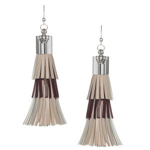 Fringe Tassel Earrings in Beige Brown and Beige