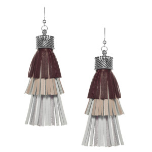 Fringe tassel Earrings in Brown, beige and white