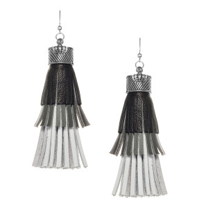 Fringe tassel Earrings in Black, Grey and White