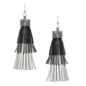 Fringe tassel Earrings in Black, Grey and White