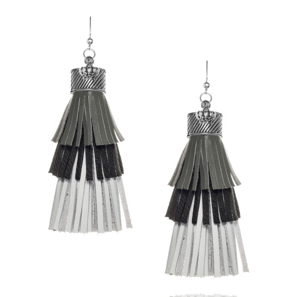 Fringe tassel Earrings in Grey, Black and White