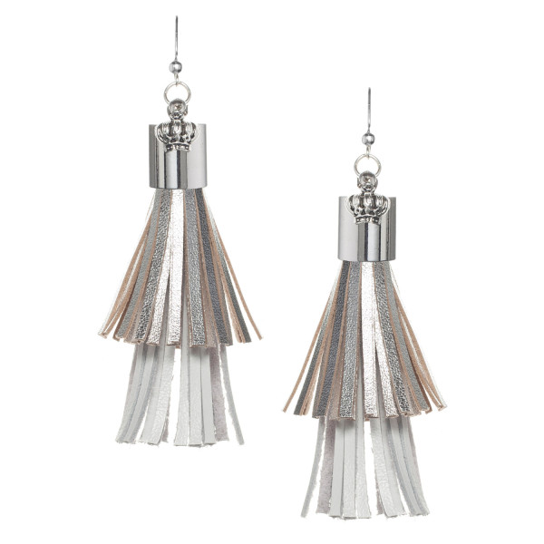 Fringe tassel Earrings in Gold and White