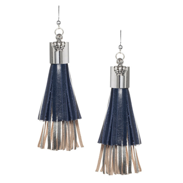 Fringe tassel Earrings in Navy and silver metallic