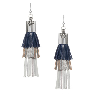 Fringe tassel Earrings in Navy, Silver metallic and White