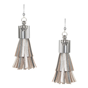 Fringe Tassel Mini Earrings in silver metallic