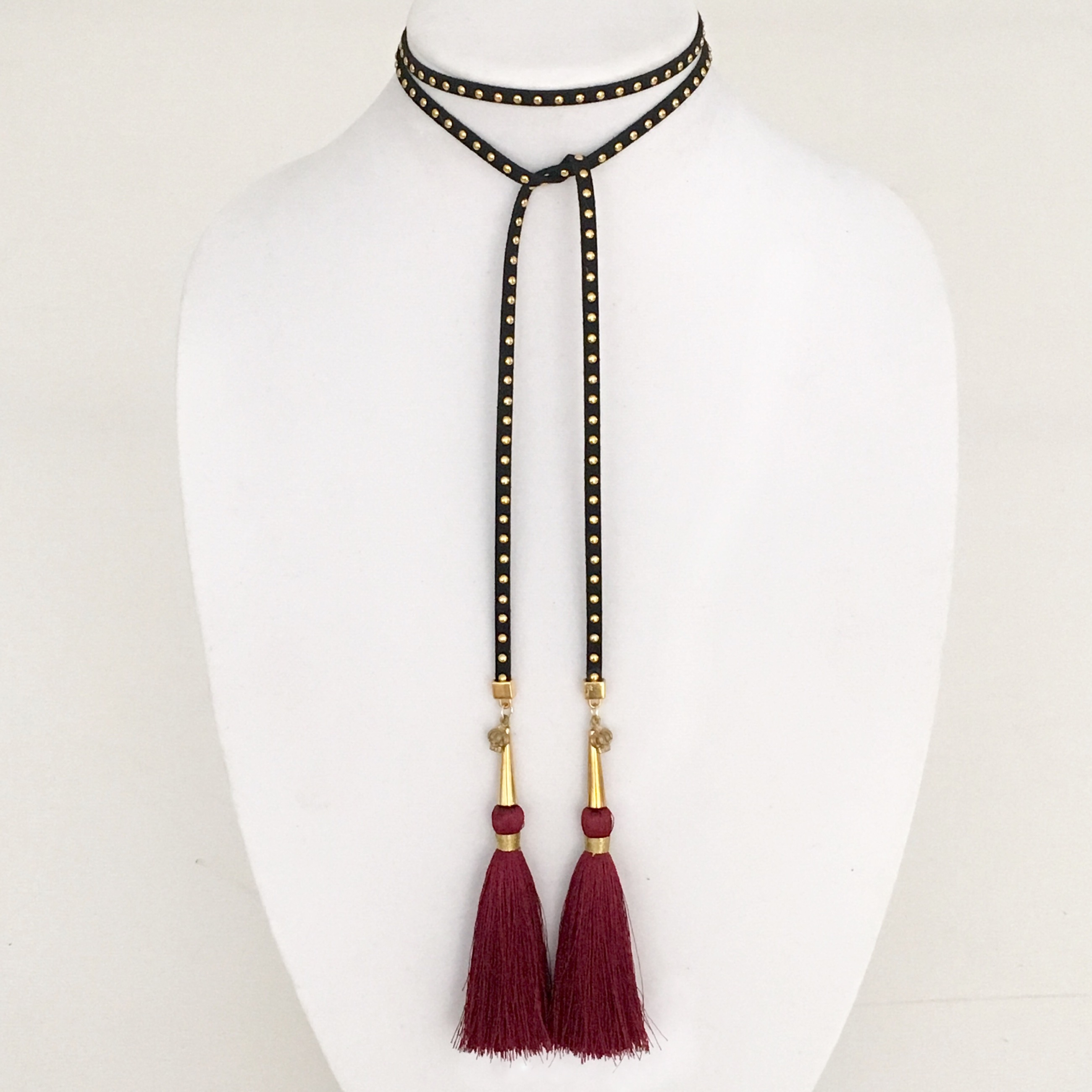 BLACK SUEDE WRAP CHOKER WITH GOLD STUDS AND BURGUNDY...