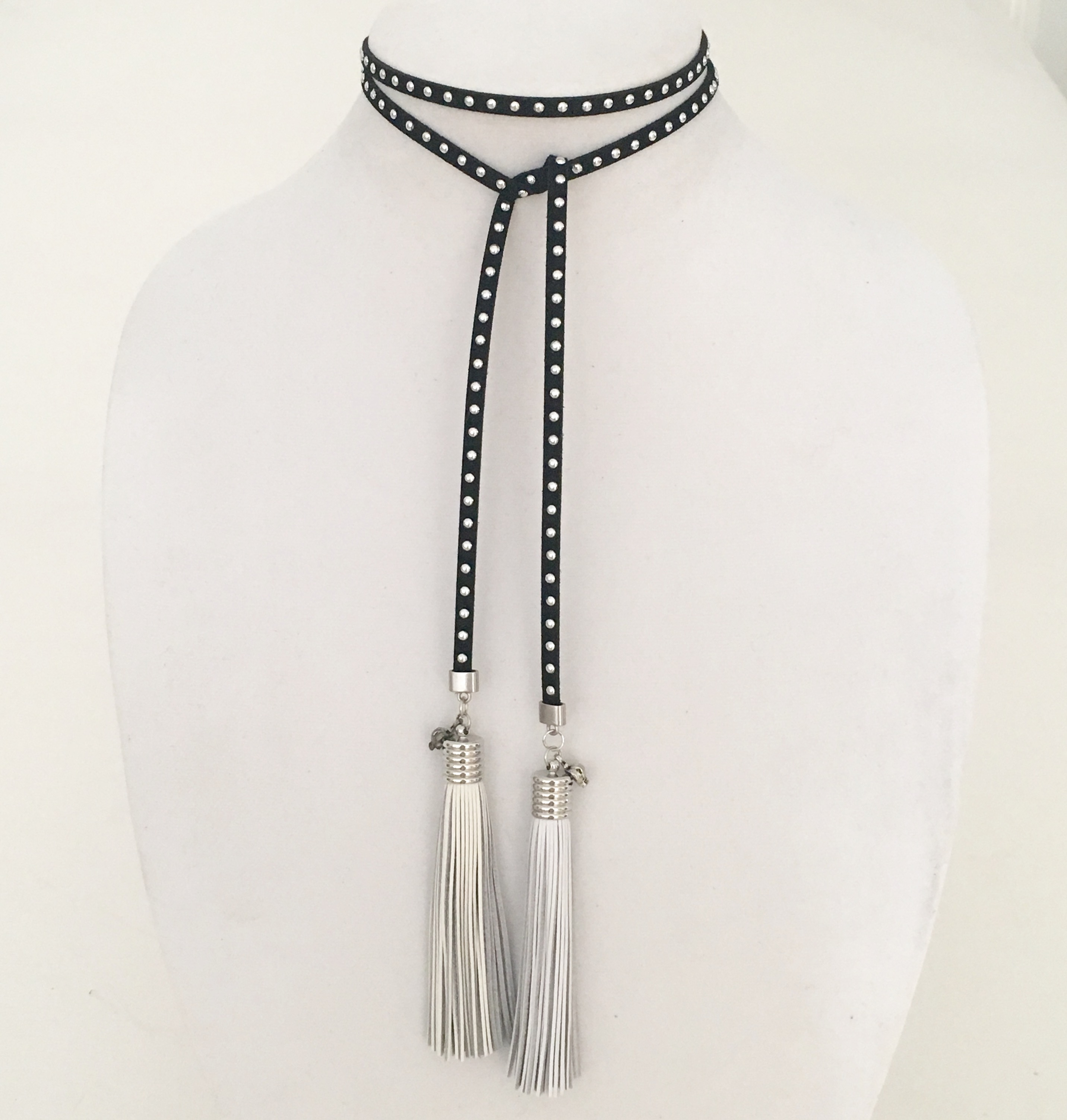 SUEDE WRAP TUXEDO CHOKER IN BLACK WITH SILVER STUDS...