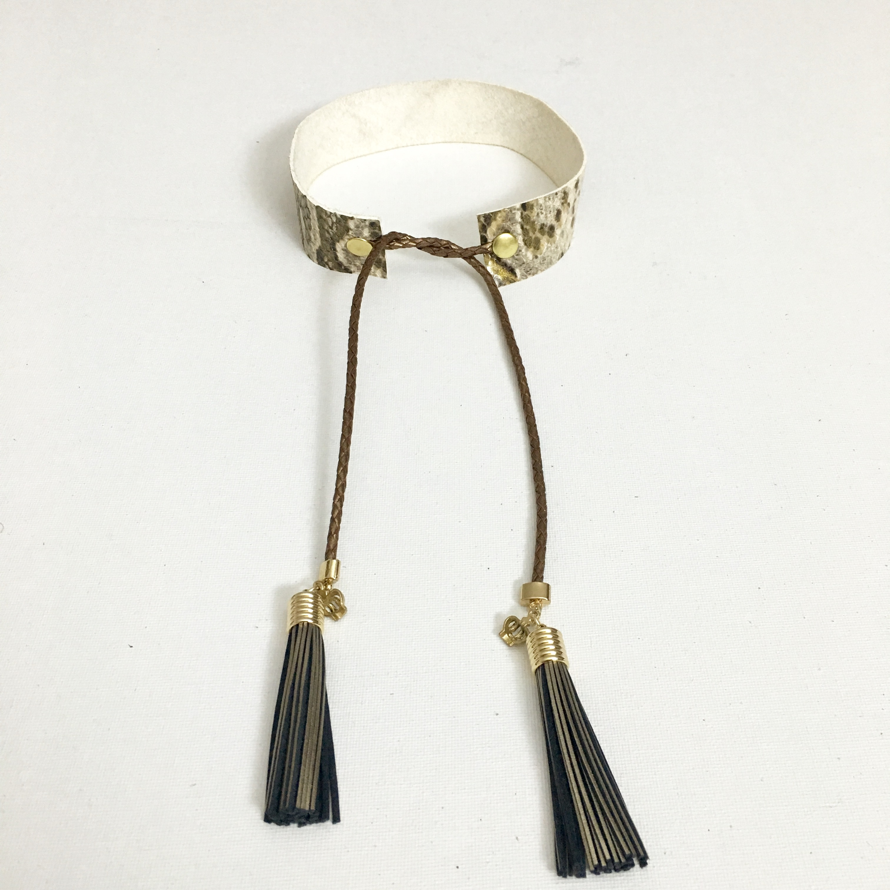 Leather Tie Choker With Tassels
