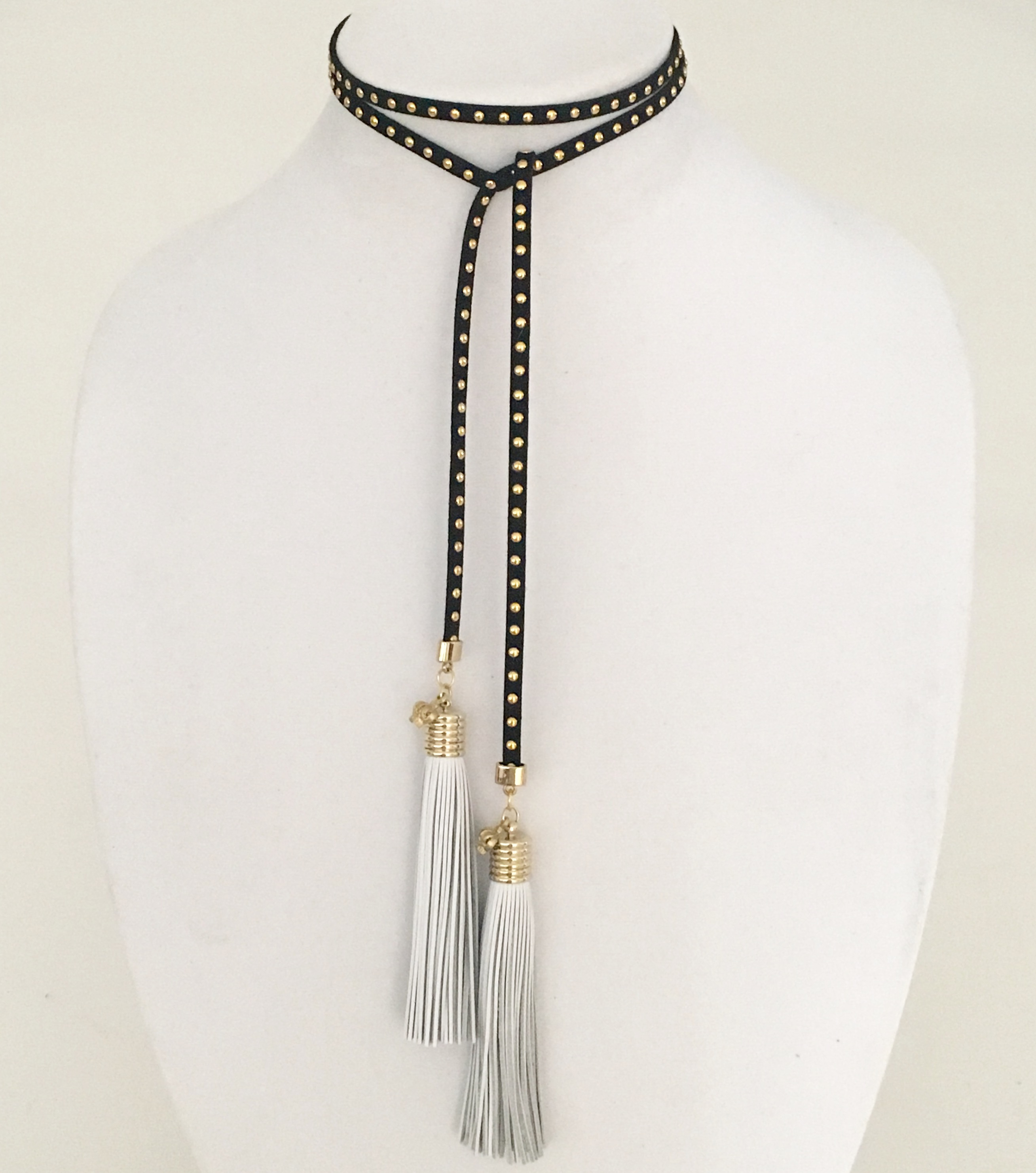 SUEDE WRAP TUXEDO CHOKER IN BLACK WITH GOLD STUDS...