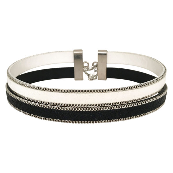 Double Layer Choker With Chain Border in White and Black