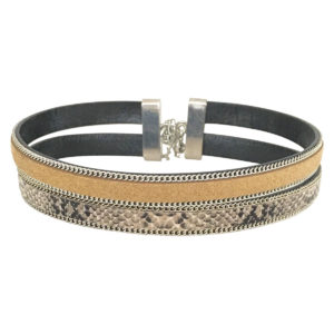 Double Layer Choker With Chain Border in Gold and Snake