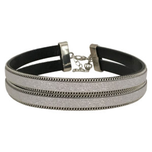 Double Layer Choker With Chain Border in Silver