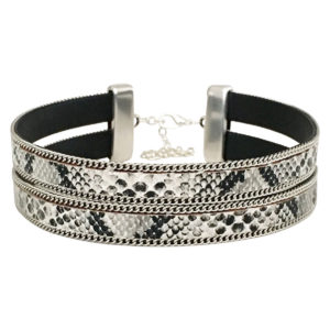 Double Layer Choker With Chain Border in White Snake