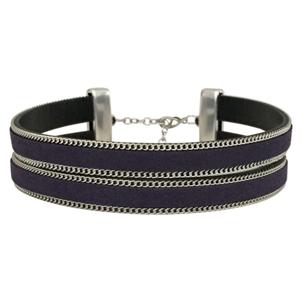 Double Layer Choker With Chain Border in Navy