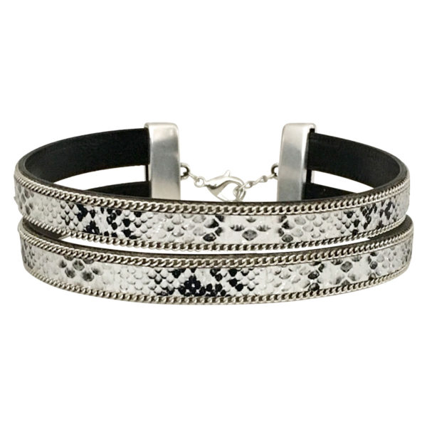 Double layer Choker With Chain Border in metallic snake